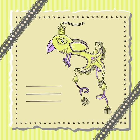 fabulous: postcard with a fabulous bird. vector