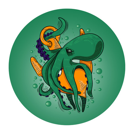 feeler: large evil octopus monster with a ships anchor. vector. Illustration