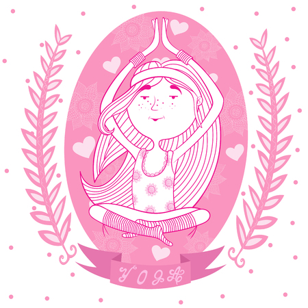 meditates: cute happy girl meditates in the Lotus position. background of flowers and hearts. pink.