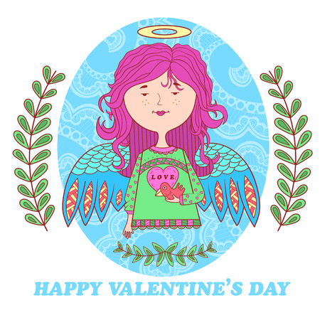 angel hair: greeting card for Valentines day with a cute angel girl with bird. floral pattern in the background.