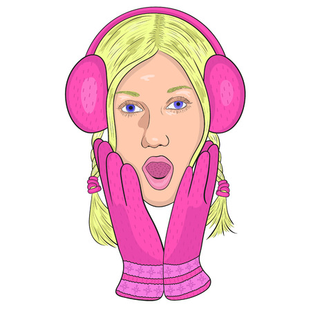 opened mouth: girl in pink headphones and gloves from surprise opened his mouth and put his hands to his face. vector.