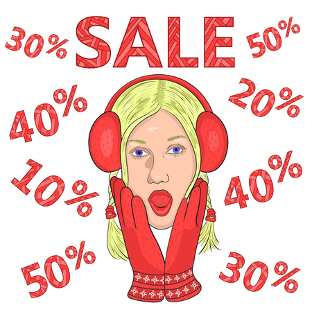 opened mouth: big sale. seasonal discounts. girl in red gloves and headphones from surprise opened his mouth and grabbed his face. vector.