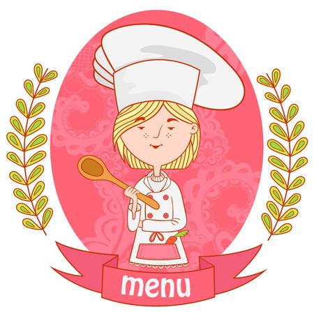 sexo femenino: chef de cocina a la muchacha linda con la cuchara. menú. patrón de fondo de ramas con hojas en los laterales. Vectores