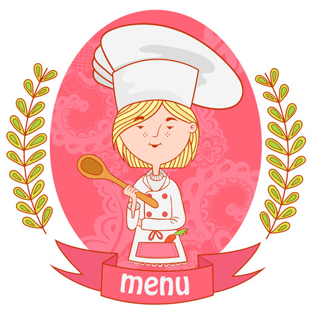young female: cute girl chef cook with spoon. menu. background pattern of branches with leaves on the sides. Illustration