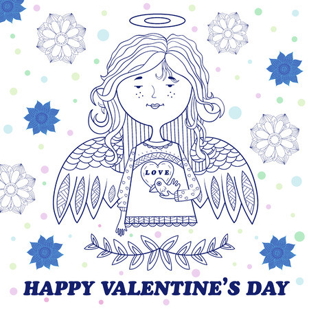 cute angel: greeting card for Valentines day with a cute angel girl with bird. floral pattern in the background. vector.