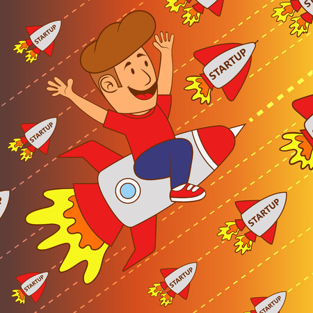 Start up business concept design. happy young man flying on a rocket.