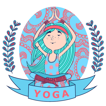 meditates: cute happy girl meditates in the Lotus position. background pattern. blue and red colors.
