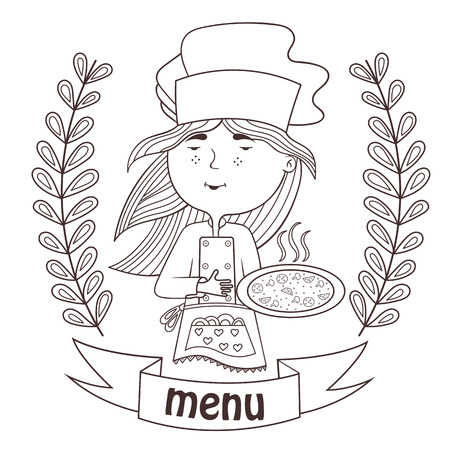 stuffing: contour cute girl cook with pizza chef.menu.