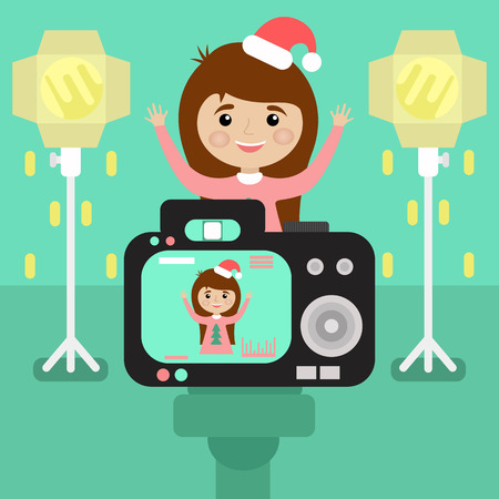 photography session: happy girl in Christmas hat is photographed in the Studio. the camera with flashes. flat style.