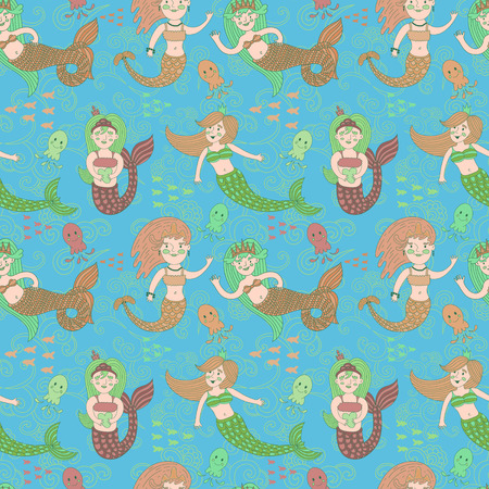 crown tail: seamless pattern with cute colorful mermaids princesses in cartoon style. fun jellyfish and floral background.