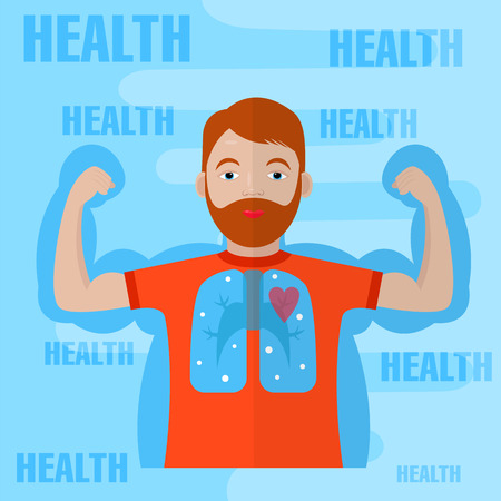 cardiovascular system: healthy lifestyle design. young man showing arms muscles. healthy lungs and cardiovascular system. flat style.  Illustration