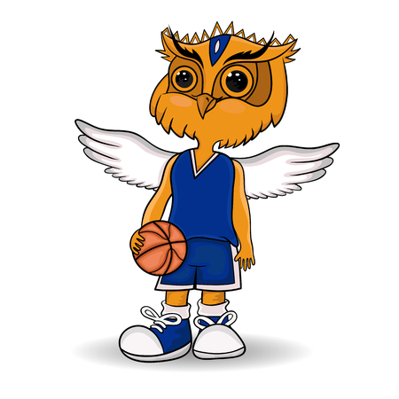 owl vector: design of the mascot of the basketball team. owl with a basketball ball. vector. Illustration