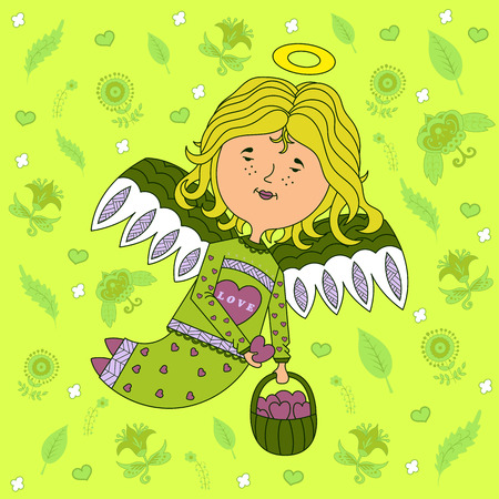 outspread: design greeting cards for Valentines day. sweet girl angel with outspread wings, with a basket of hearts in his hand. floral background. vector.