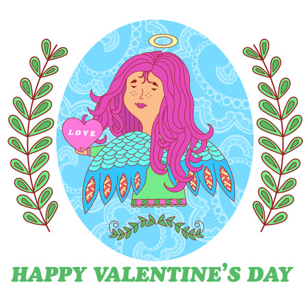 angel girl: greeting card for Valentines Day with cute angel girl with heart in hand. floral pattern in the background. vector.