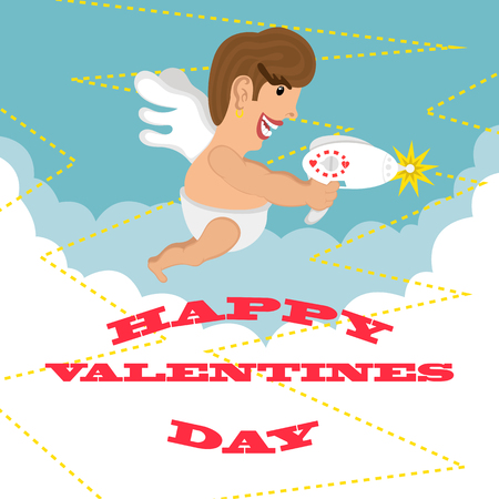 amur: greeting card happy Valentines day. design. funny cupid fires his blaster. Illustration