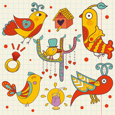 childlike: vector set of colorful beautiful birds drawn in a childlike style. Doodle. Illustration