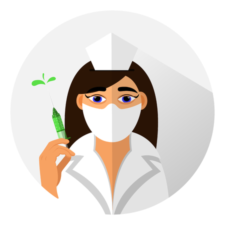protective mask: medical icon flat design style. doctor girl in a protective mask with a syringe in his hand. vector.