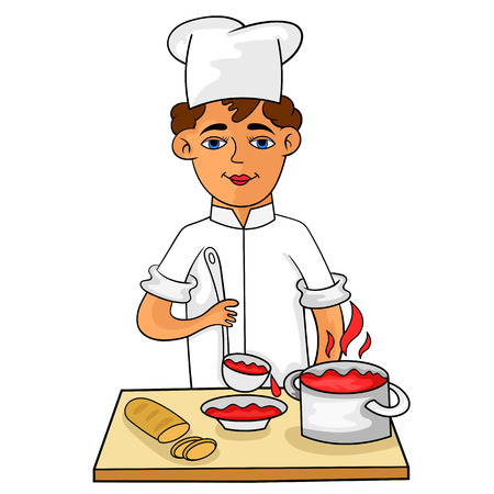 Happy young cook pours hot soup in a bowl. Cartoon, vector. Illustration