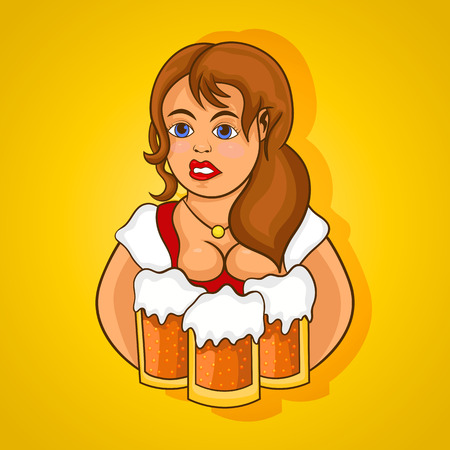 Beautiful girl a waiter with three mugs of beer. Vector, cartoon.