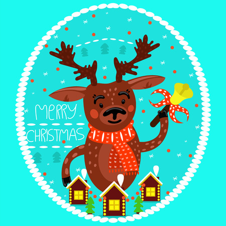 Christmas deer with bell. Holiday card. Merry Christmas. Vector, flat design.