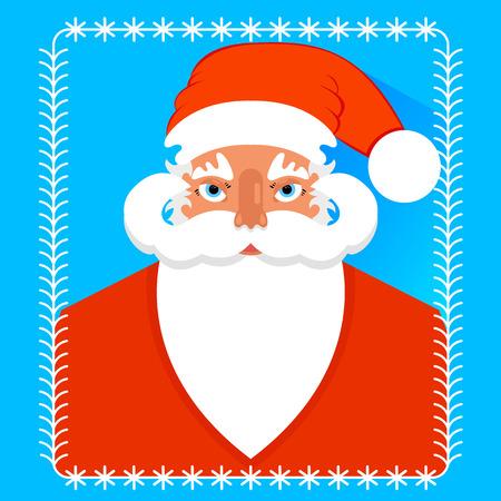 postcard design: Postcard portrait of Santa Claus , flat design. vector. Illustration