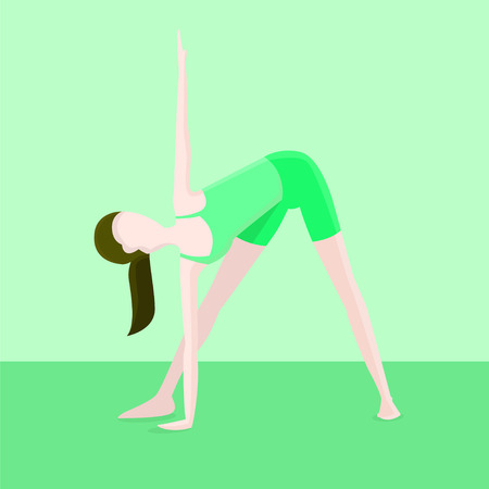 A girl performs stretching exercises vector illustration.