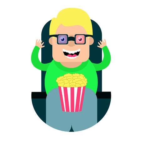3 d glasses: cartoon man watching a movie in 3 D glasses . Vector illustration. Illustration