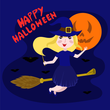 children party: Witch flying on a broomstick vector illustration. happy Halloween.