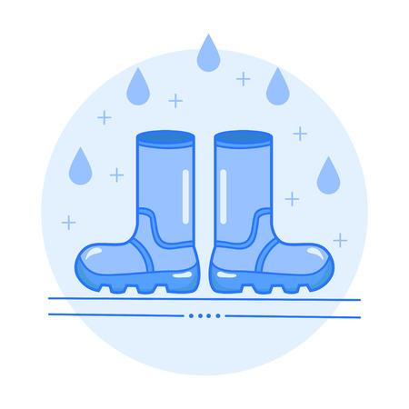 Rubber boots vector illustration icon. Illustration
