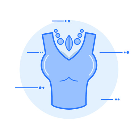female breast with choker neck vector illustration icon. Ilustrace