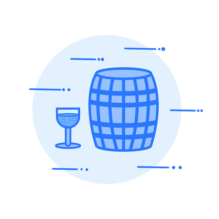 wine barrel and glass vector illustration icon.