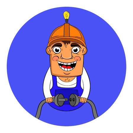 character design electrician working with wires in hands vector illustration.