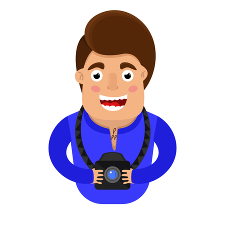 photographer with camera in hand. the design of the character. vector