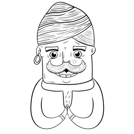 happy cartoon Indian guy in turban. coloring book. vector