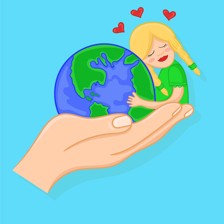 love for the planet earth. cartoon girl hugging a globe.