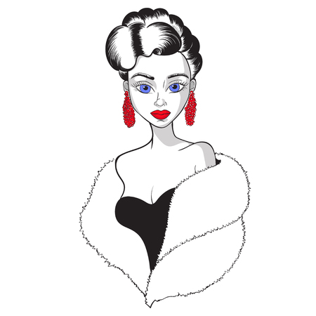 Beautiful girl in earrings and a fur Cape vector illustration.