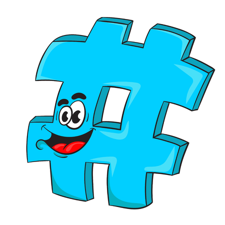A hashtag funny cartoon character design vector illustration.