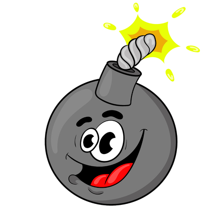 Funny cartoon bomb. the design of the character. vector illustration.