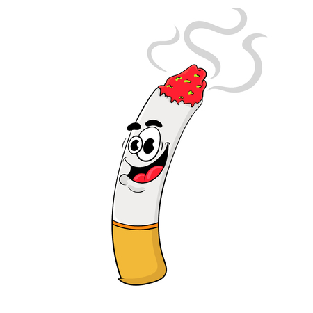 funny cartoon cigarette . the design of the character. vector illustration.