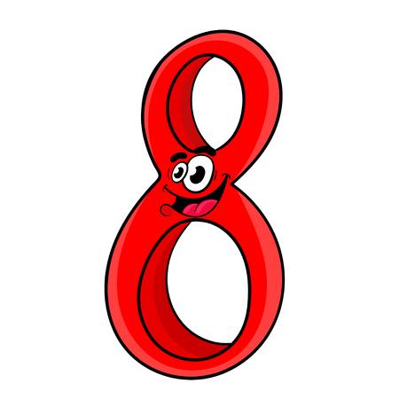 Number 8 cartoon design. Illustration