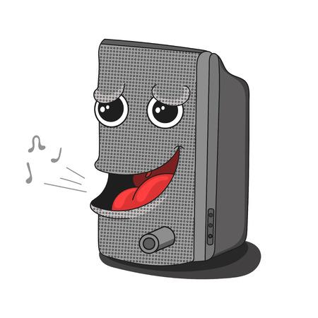 funny cartoon musical speaker vector illustration