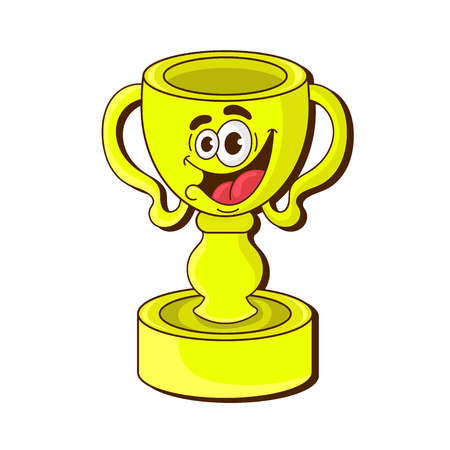 cartoon gold trophy Cup on white background . character design, vector illustration Иллюстрация