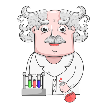 cartoon Professor performs scientific experiments with reagents, vector illustration