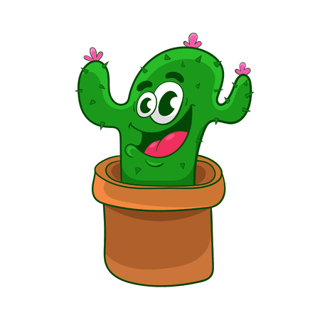 cartoon flowering cactus in a clay pot, vector illustration  イラスト・ベクター素材