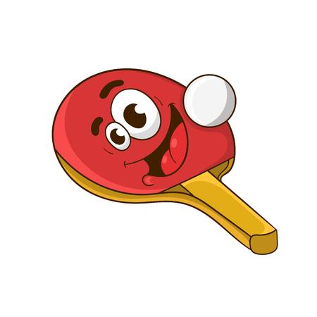 cartoon racket ping pong ball, vector illustration Vettoriali
