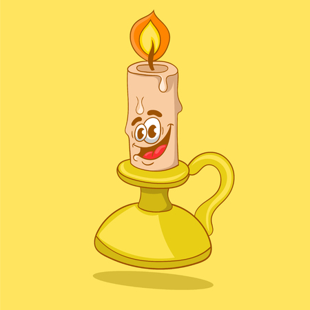 cartoon burning candle on a candlestick, vector illustration