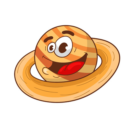 Cartoon planet Saturn, character design, vector illustration Illusztráció