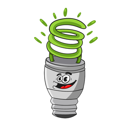 Cartoon energy saving light bulb with facial expression,  vector illustration. Illustration