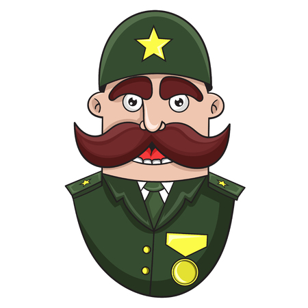 cartoon military General, vector illustration  イラスト・ベクター素材