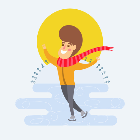 Winter recreation. Cartoon guy skating, vector illustration